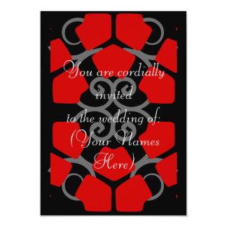 Black, White, and Red Design Wedding Invite