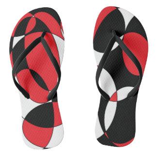 Black, white and red elliptical flip flops thongs