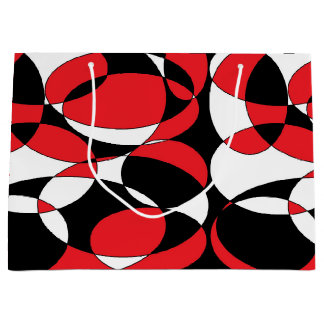 Black, White and Red Ellipticals Large Gift Bag