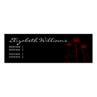 Black, White and Red Floral Business Card Template