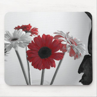 Black, White, and Red Flower Mousepad