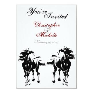 Black, White and Red Horse Wedding Invitation