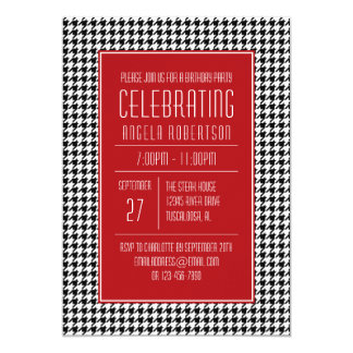 Black White and Red Houndstooth Birthday Card