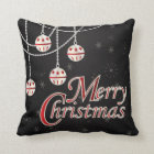 Black, White and Red Merry Christmas Cushion