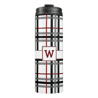 Black White and Red Plaid Thermal Tumbler
