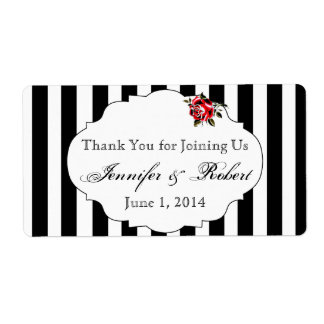 Black White and Red Rose Water Bottle Label Shipping Label