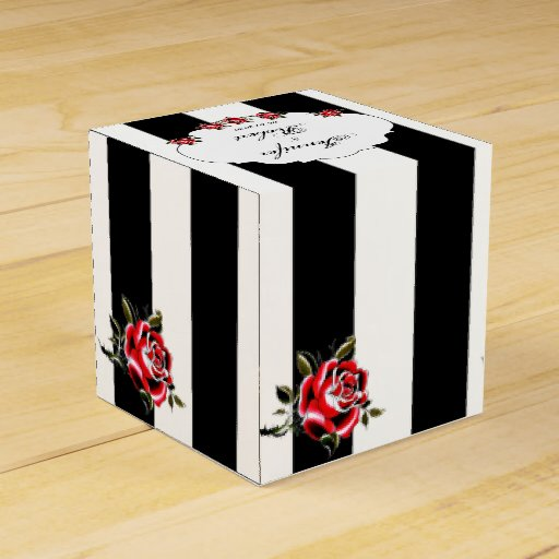 Black White and Red Rose Wedding Favor Box