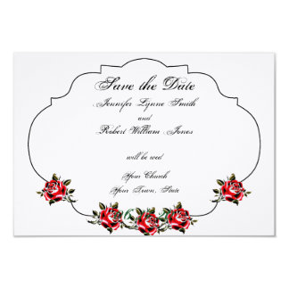 """Black White and Red Rose Wedding Save the Date 3.5"""" X 5"""" Invitation Card"""
