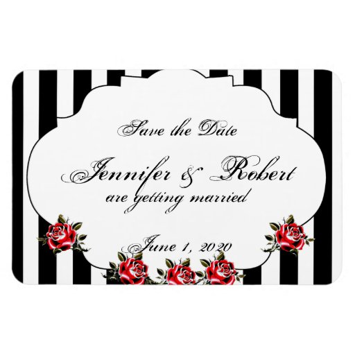 Black White and Red Rose Wedding Save the Date Flexible Magnet