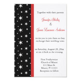 Black, White and Red Stars Wedding Invitation