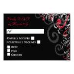 Black, White, and Red Swirl wedding RSVP 9 Cm X 13 Cm Invitation Card