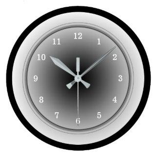 Black White and Silver Gray Monochrome Large Clock