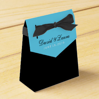 Black White and Teal Blue Wedding Favour Boxes