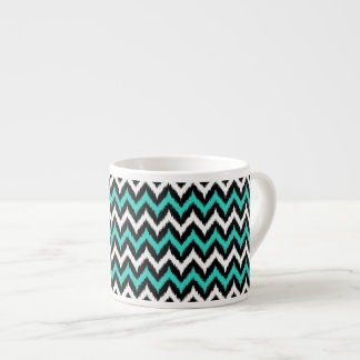 Black, White and Turquoise Zigzag Ikat Pattern Espresso Cup