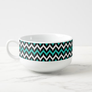 Black, White and Turquoise Zigzag Ikat Pattern Soup Bowl With Handle