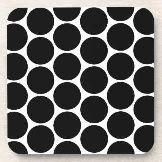 Black White And White Polka Dots Pattern Coasters