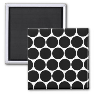 Black White And White Polka Dots Pattern Magnet