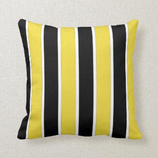 Black, white and yellow stripes American MoJo Pill Throw Pillow