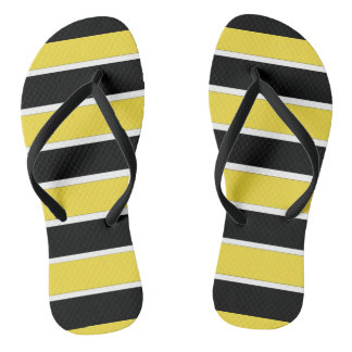 Black, White and Yellow Stripes Thongs