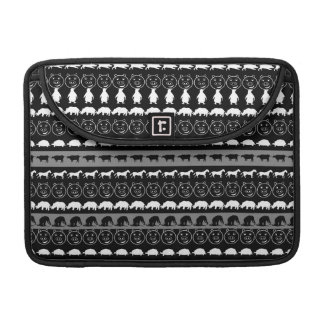 Black White Animals Modern Stripes Pattern #2 Sleeve For MacBooks