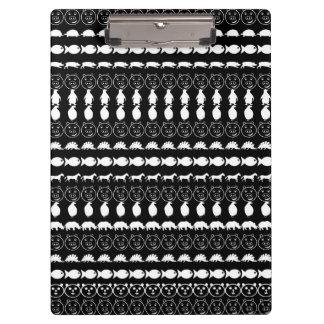 Black White Animals Modern Stripes Pattern Clipboard