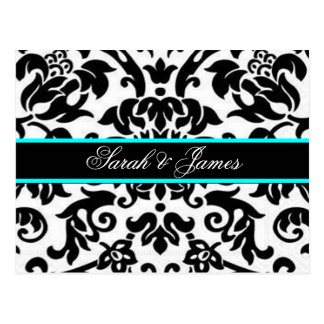 black white & aqua Damask wedding set Postcard