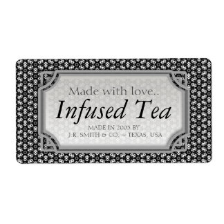 Black White Arabesque Tea Wine Bottle Labels