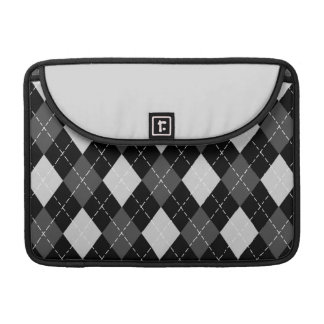 Black & White Argyle Pattern Macbook Flap Sleeve MacBook Pro Sleeves