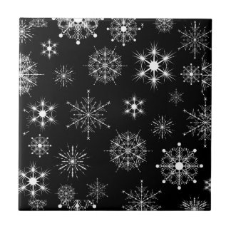 Black & White Assorted Christmas Snowflakes Ceramic Tile
