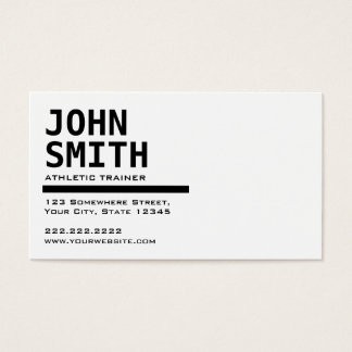 Black & White Athletic Trainer Business Card