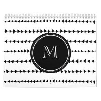 Black White Aztec Arrows Monogram Calendars