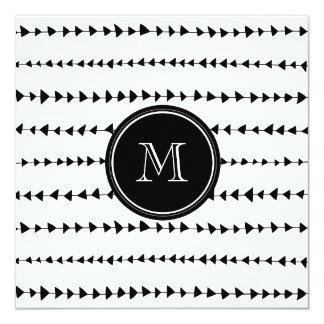 Black White Aztec Arrows Monogram Card