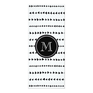 "Black White Aztec Arrows Monogram 4"" X 9.25"" Invitation Card"