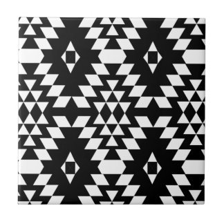 Black & White Aztec Pattern Tile