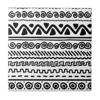 Black white Aztec Tribal pattern bathroom tile