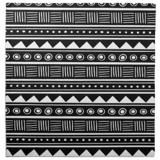 Black & White Aztec Tribal Pattern Napkins