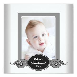 Black White Baby Boy Photo Christening 13 Cm X 13 Cm Square Invitation Card
