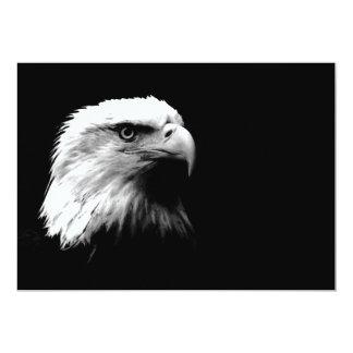 """Black & White Bald American Eagle Invitation 5"""" X 7"""" Invitation Card"""