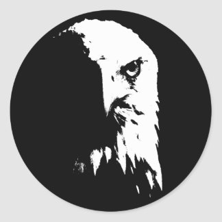 Black & White Bald Eagle Classic Round Sticker