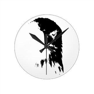 Black & White Bald Eagle Clock