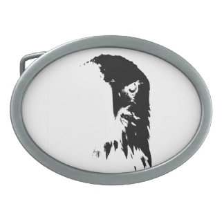 Black & White Bald Eagle Oval Belt Buckles