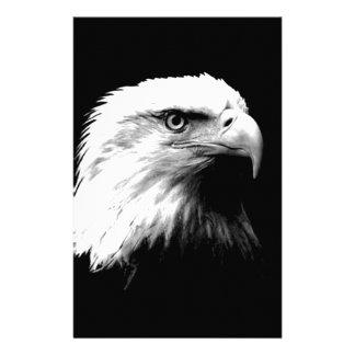 Black & White Bald Eagle Personalized Stationery