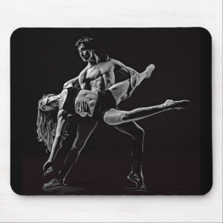 Black & White Ballet Couple Dancing Mouse Pad