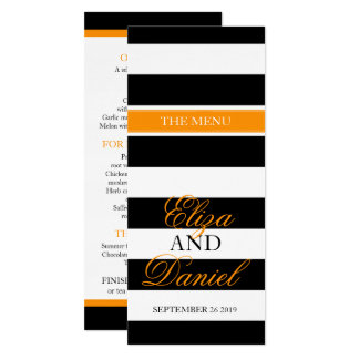 Black & white banded orange wedding dinner menu card