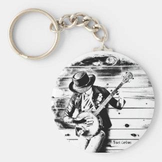 Black & White Banjo Man - Key ring