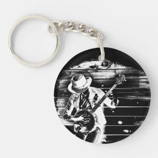 Black & White Banjo Man - Key ring Double-Sided Round Acrylic Key Ring