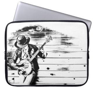 Black & White Banjo Man - Laptop Sleeve