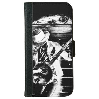 Black & White Banjo Man - Wallet Case