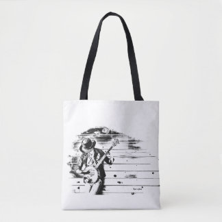 Black & White Banjo Man - white background Tote