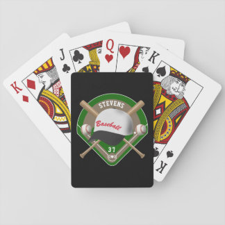 Black | White Baseball Diamond Player Name Number Playing Cards